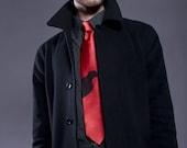 Edgar Allan Poe Necktie. Raven Tie. Black crow silhouette silkscreened tie. Author, writer, poetry, reading mens gift. Choose red tie more.