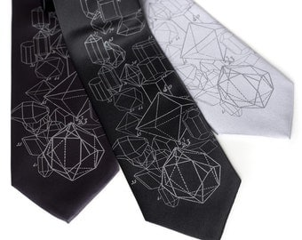 Crystal Math Printed Neck Tie. Crystalline formation necktie, taupe silkscreen print. Choose standard or narrow size.