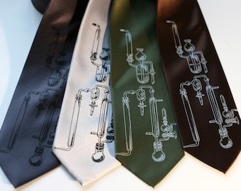 "Test Tubes Print Necktie. Silk lab glass printed men's science necktie. ""Experiment"" science and chemistry silkscreened tie."