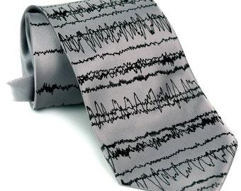 EEG Brainwaves Printed Necktie. Insomnia Print. Sleep cycles silkscreened tie. Choose standard, narrow, skinny, or big and tall.
