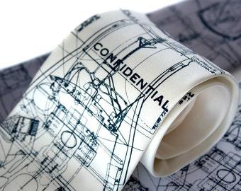Declassified Rocket Blueprint Necktie. Project Mercury spacecraft. NASA men's tie. Navy blue silkscreen print. Space enthusiast gift.