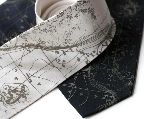 Topographical Error map screen printed silk necktie, nautical seafloor contour map. Silkscreened men's tie.