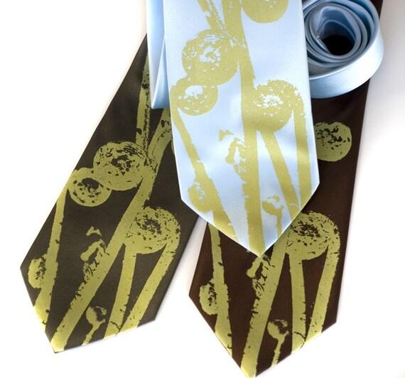 Fiddlehead Fern necktie, screenprinted tie. Botanical print. Pea green screenprint. Vegan safe microfiber.