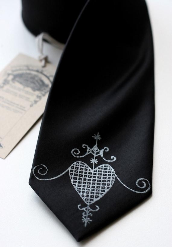 Veve Erzulie necktie. Heart symbol silkscreen tie. Choose standard or narrow width, black tie & more.