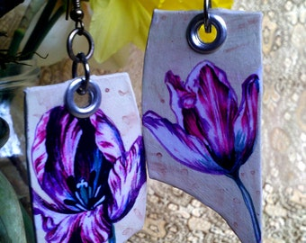 Easter Fuschia Tulip - hand-painted earrings - Spring and Summer Love