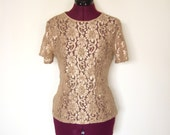 Vintage Gold Lace and Mesh Short Sleeved Blouse Womens Small Medium