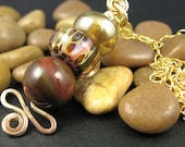Stacked Pendant, Gemstone and Lampwork, 14k Gold Fill Chain, Necklace, 18 inches