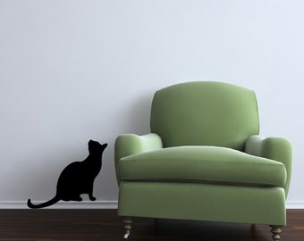 Life Size Black Cat Sitting Looking Up Vinyl Wall Decal