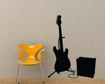 Guitar and Amp Wall Decal for Rock Stars
