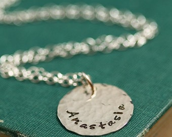 Silver Stamped Name Mother's Necklace - Medium