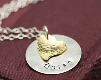 I Heart You - Large Hand Stamped Custom Font Mother's Necklace