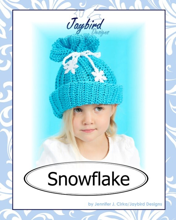 PATTERN Snowflake Baby Child Crochet Hat Instant Download