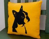 Boston Terrier pillow, original design screenprint, yellow cotton - pet home decor