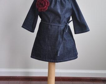 Denim Toddler Long Sleeve Dress with Deep Red Crochet Flower