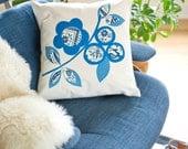 Hand Printed Cotton Canvas Pillows,Scandinavian Flowers, Cobalt and Navy Blue