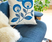 Hand Printed Cotton Canvas Pillows, Lollipop Flowers, Cobalt and Navy