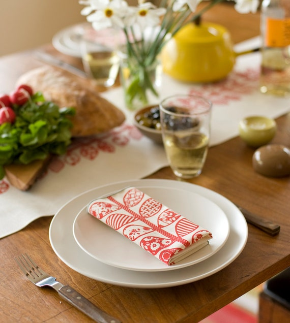 As seen on Martha Stewart.Com, Hand Printed Cloth Napkins, Crimson Vine, SET of FOUR, Anna Joyce Textile Collection