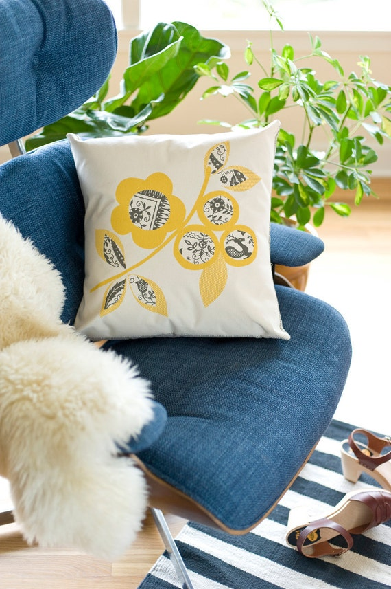 NEW Hand Printed Cotton Canvas Pillows,Scandinavian Flowers, Yellow and Gray