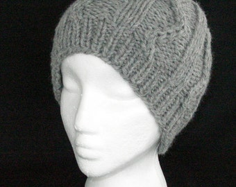 Gray Wool Knit Hat for Men or Women, Unisex Hat