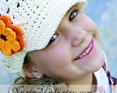 Girls Newsboy Cream Hat 12-24 Months , Crochet Hat, Kids Hat, Winter Hat, hat with flowers, childrens hat, tween crochet hat, girl hat