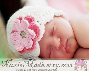 0-3 Months Girl Hat, Girls Hat, Crochet Hat, Shell Beanie, baby girl hat, infant hat, white hat, flapper hat, flower hat, baby winter hat