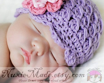 Purple Crochet Baby Hats, Girl's Cloche Hat, Baby Girl Hat, Crochet Hat for Baby, 0-3 Months,  Cotton, Baby Winter Hat