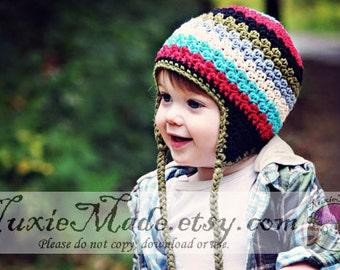 2T-4T Boys Winter Hat, Crochet Boys Hat, Earflap Hat, Kids Hat, Stripe Hat, Childrens Hat, Rainbow Hat, Boys Winter Hat, Hat for Boys