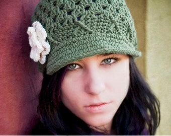 Womens Hat, Crochet Hat, Teen Hat, newsboy hat, newsgirl hat, Green Hat, Hat with Brim, Winter hat, Fall hat, Beanie with Brim, Olive hat