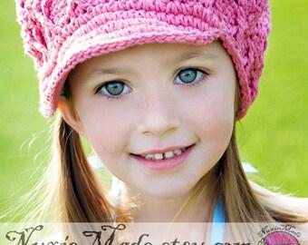 2T-4T Girls Pink Hat, Crochet Hat, Child Hat, newsboy hat, childrens hat, kids hat, pink hat, apple cap, winter hat, hat with brim