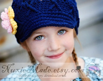 Navy Blue Crochet Newsboy 12-24 Months, Child Hat, Crochet Hat, kids hat, navy blue hat, girl hat, hat with flowers, newsboy hat