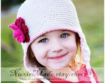 Ecru Earflap Winter Hat, Earflap Hat with Flowers, Off White Earflap Hat, Girls Earflap Hat, Earflap Hat for Toddler, Ecru Winter Hat, 2T 4T