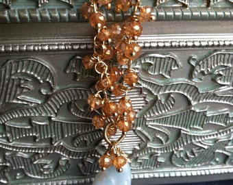 Blister pearls and apricot topaz necklace