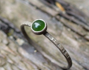 Lucky Jade - Dainty Sterling and Fine Silver Stacking Ring