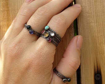 Pick 7 - Sterling Silver Mother's Stackable Ring Set - Your choice of birthstones or any stones