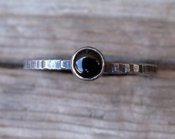 Dainty Black Onyx - Sterling and Fine Silver Tiny Stacking Ring - Makes a Great Pinkie Ring Too
