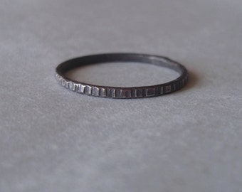 Tiny Stoneless Stacker - One Sterling Silver Stacking Ring - Blackened - Rustic