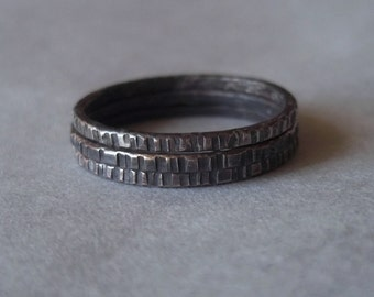 Tiny Stoneless Stackers - Set of 3 Sterling Silver Rings - Rustic and Blackened - Also available in shiny or matte