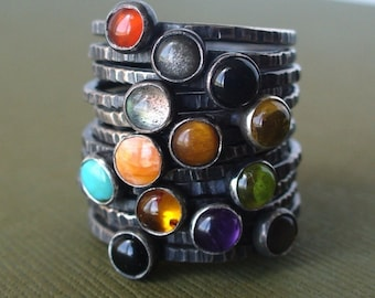 Pick 3 - Mother's Day Every Day - Tiny Stacking Rings - Sterling and fine silver - Your choice of birthstones or any stone