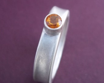 Ready to Ship!!  Modern Citrine Ring .Sterling Silver - November Birthstone. Engagement ring For the unconventional engagement.