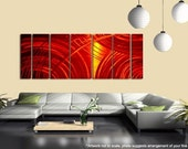 Bold Red & Orange Abstract Wall Art - Contemporary Metal Painting - Large Wall Sculpture - 3D Decor - Home Accent -Orange Crush by Jon Allen