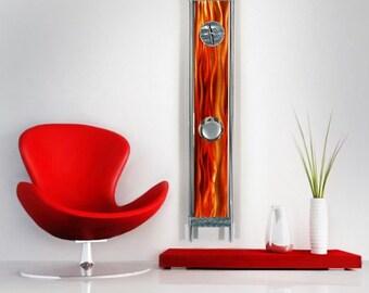 Orange Abstract Metal Wall Clock - Modern Metal Wall Art - Home Decor - Pendulum Clock - Functional Art - Phoenix by Jon Allen