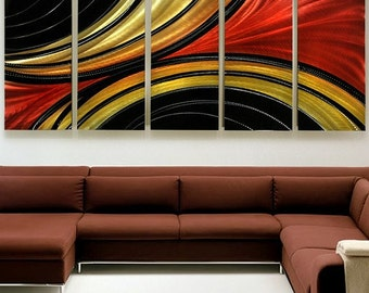 Large Gold, Red & Black Abstract Metal Painting - Multi Panel Modern Metal Wall Art - Decorative Wall Sculpture -  Solaris XL by Jon Allen