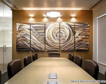 Copper Silver Modern Metal Wall Art - Large Abstract Metallic Decor - Contemporary Accent Wall Decor - Spiral of Emotions II XLby Jon Allen
