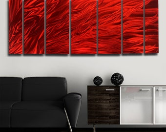 Red Modern Metal Wall Art - Abstract Metal Painting - Home Decor - Accent - Bright Bold Colorful Art - Dragons Breath by Jon Allen