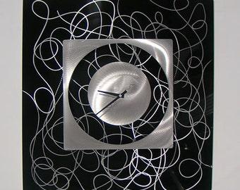 Black & Silver Modern Metal Wall Clock - Functional Art - Contemporary Decor - Clock Accent - Timepiece -Controlled Chaos Clock by Jon Allen