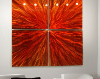 Fiery Red & Orange Abstract Metal Wall Hanging - Bright Colorful Modern Art - Contemporary Wall Sculpture Accent - Sizzle by Jon Allen