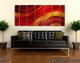 Red & Yellow Contemporary Metal Painting - Painted Panel Artwork - Abstract Modern Metal Wall Art - Harvest Moods by Jon Allen