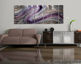 SALE! Large Multi Panel Modern Metal Wall Art in Purple, Silver & Gold, Abstract Wall Painting Decor - Wild Imagination by Jon Allen