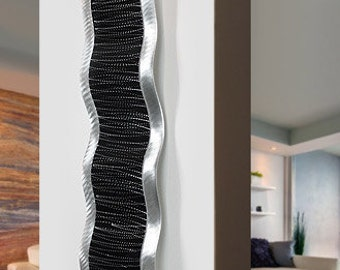 Black & Silver Modern Metal Wall Sculpture - Etched Contemporary Metal Wave - Abstract Decor - Metal Accent - Chaotic 3 by Jon Allen