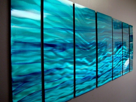 Large Aqua Blue Water Inspired Modern Metal Wall Art - Abstract Metal Painting - Contemporary Home Decor - Aqua Blue Wave by Jon Allen